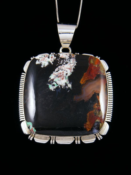 Sterling Silver Blue Opalized Petrified Wood Navajo Pendant