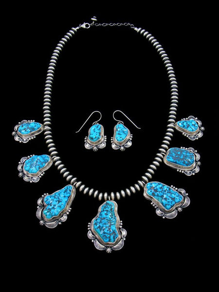 Sleeping Beauty Turquoise Nugget Choker Necklace and Earring Set