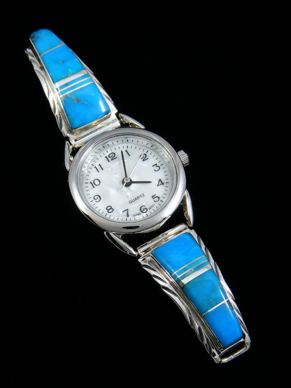 Native American Indian Jewelry Turquoise Inlay Ladies' Watch