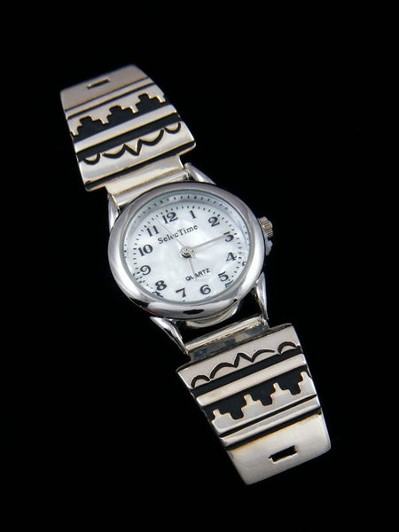 Native American Indian Jewelry Hand Crafted Womens Overlay Watch