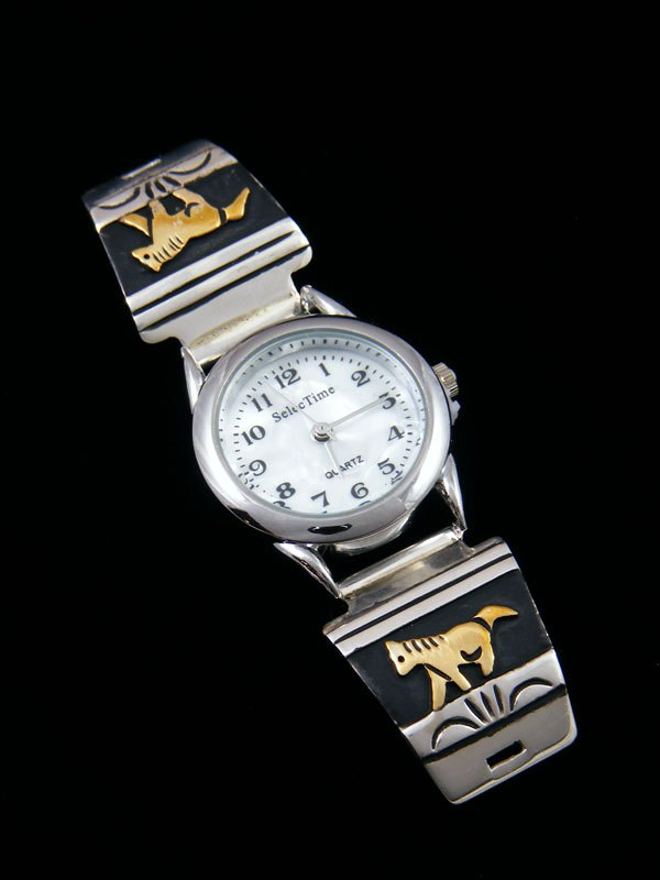 Native American Indian Jewelry Hand Crafted Ladies' Overlay Watch