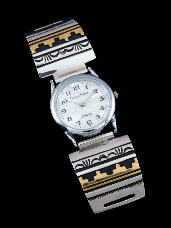 Native American Indian Jewelry Hand Crafted Men's Overlay Watch