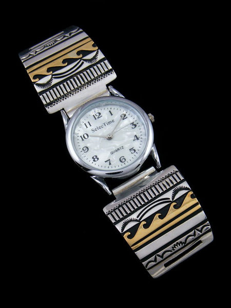 Native American Indian Jewelry Hand Crafted Mens Overlay Watch
