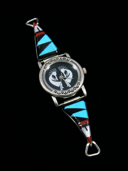 Native American Jewelry Zuni Turquoise Inlay Ladies' Watch