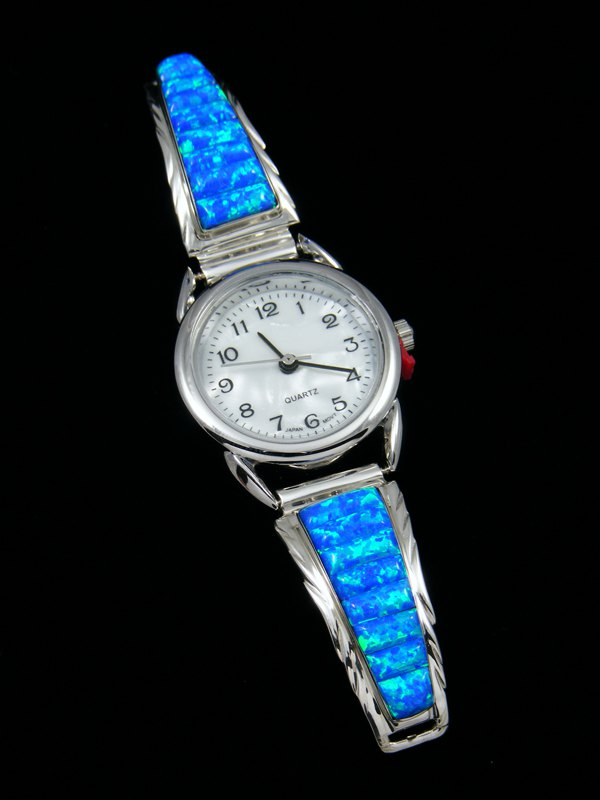 Native American Jewelry Opalite Inlay Ladies' Watch