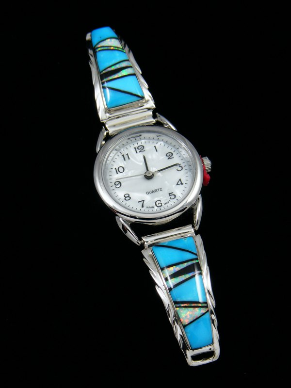 Native American Indian Jewelry Sterling Silver Ladies' Turquoise Inlay Watch