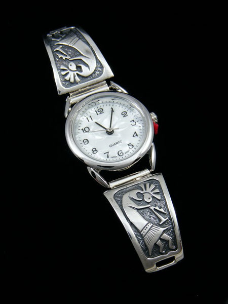 Native American Indian Jewelry Sterling Silver Kokopelli Ladies' Watch