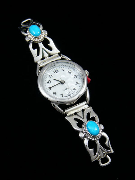 Native American Indian Turquoise Sterling Silver Ladies' Watch