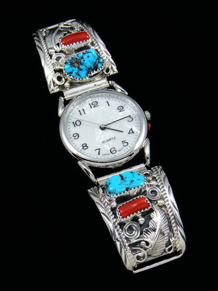 Native American Indian Jewelry Coral and Turquoise Men's Watch
