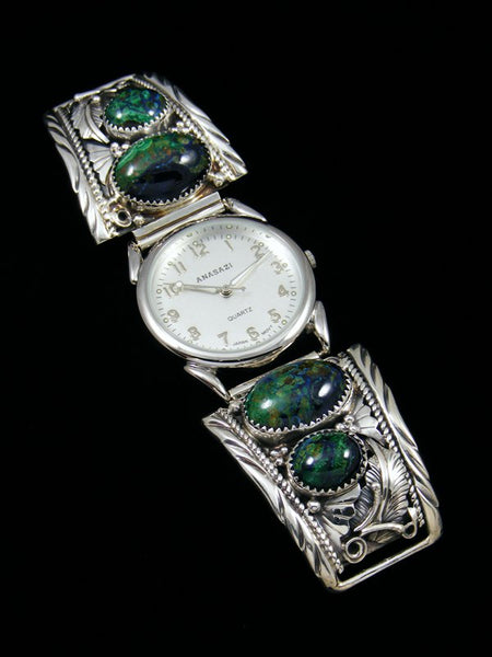 Native American Indian Jewelry Azurite Men's Watch