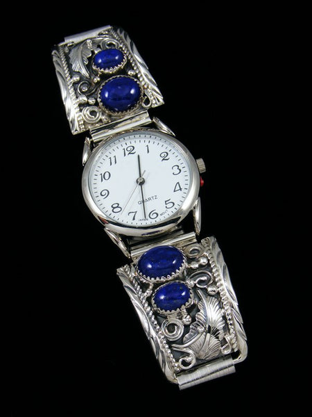Native American Indian Jewelry Sterling Silver Lapis Men's Watch