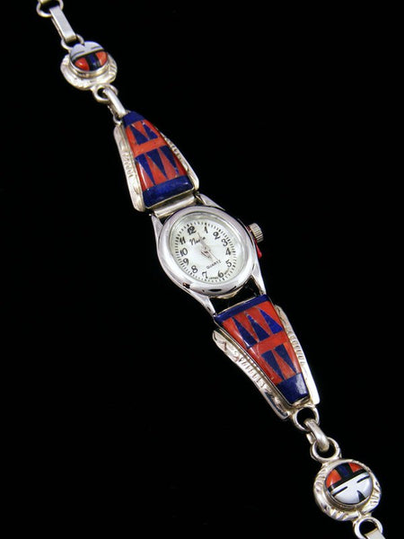 Native American Jewelry Zuni Lapis and Spiny Oyster Inlay Ladies' Watch