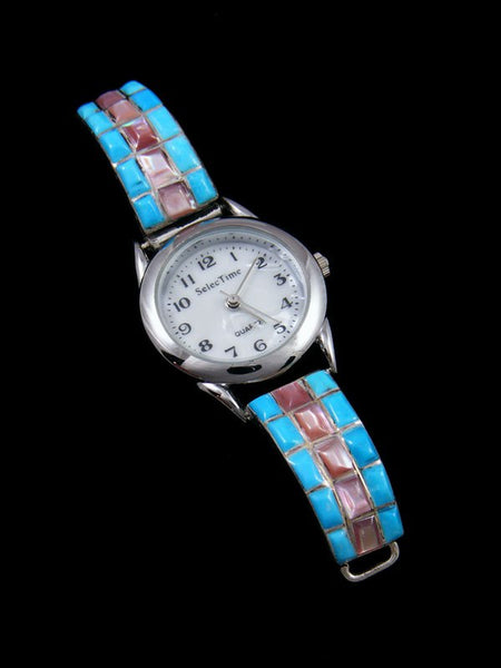 Native American Jewelry Sterling Silver Ladies' Turquoise and Pink Shell Inlay Watch