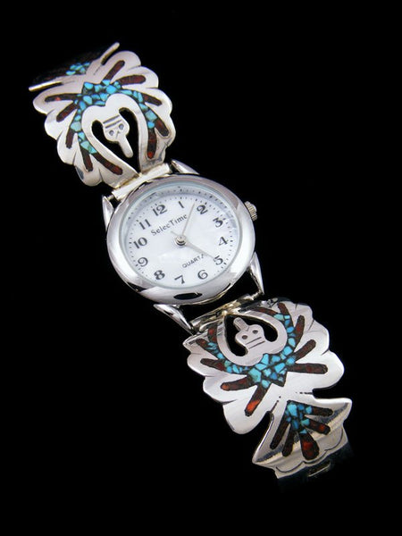 Native American Jewelry Sterling Silver Ladies' Turquoise and Coral Chip Inlay Watch