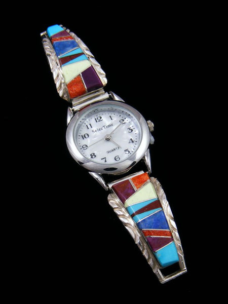 Native American Indian Jewelry Multi-stone Ladies' Inlay Watch
