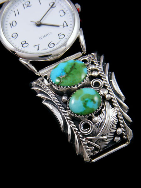 Native American Indian Jewelry Sterling Silver Sonoran Turquoise Men's Watch