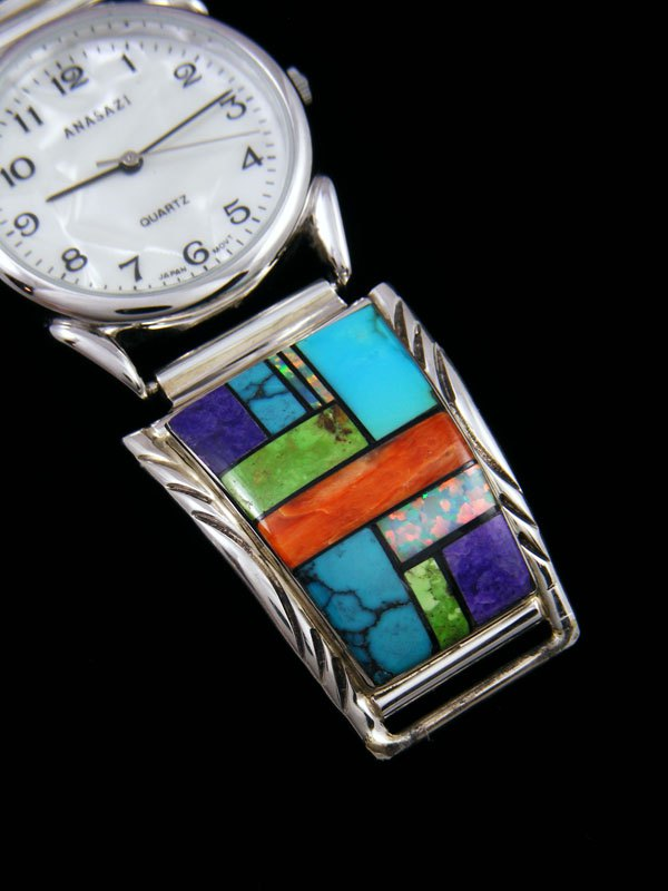Native American Indian Jewelry Turquoise and Spiny Oyster Men's Inlay Watch