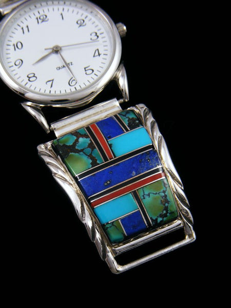 Native American Indian Jewelry Turquoise and Lapis Men's Inlay Watch