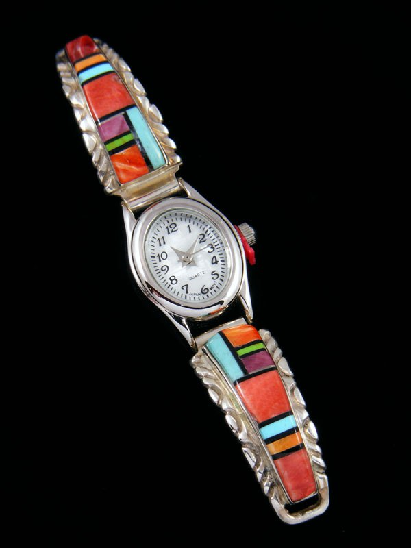 Navajo Sterling Silver Turquoise and Spiny Oyster Ladies' Inlay Watch
