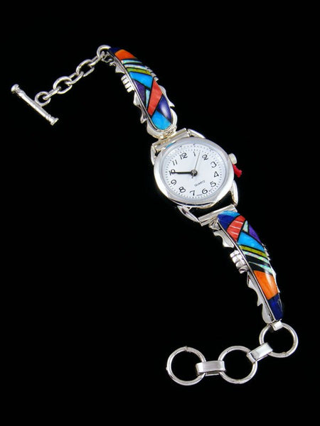 Native American Turquoise and Spiny Oyster Inlay Link Watch