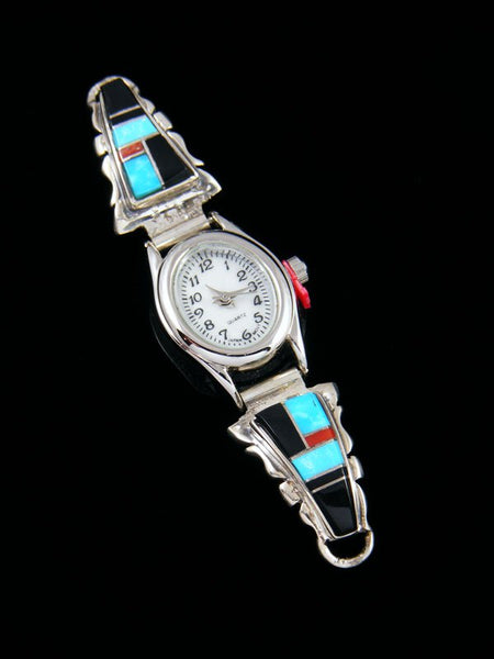 Navajo Sterling Silver Onyx and Coral Ladies' Inlay Watch