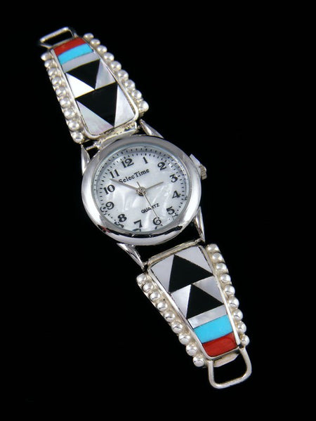 Native American Jewelry Zuni Turquoise and Coral Inlay Ladies' Watch