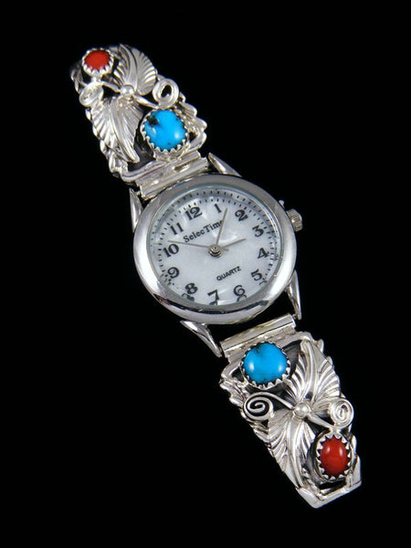 Native American Sterling Silver Turquoise and Coral Ladies' Watch