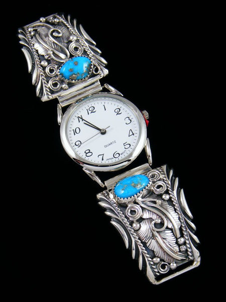 Native American Indian Jewelry Sterling Silver Turquoise Men's Watch