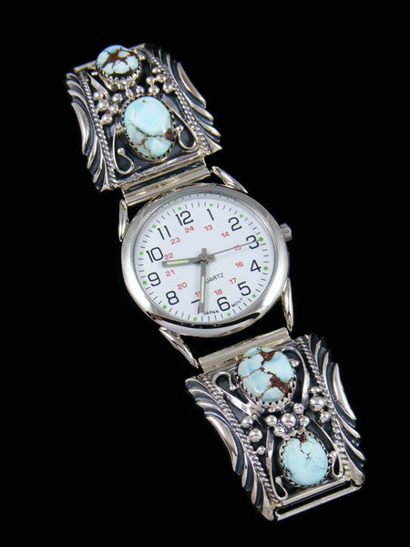 Native American Indian Jewelry Sterling Silver Golden Hill Turquoise Men's Watch