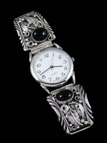 Native American Indian Jewelry Sterling Silver Onyx Men's Watch