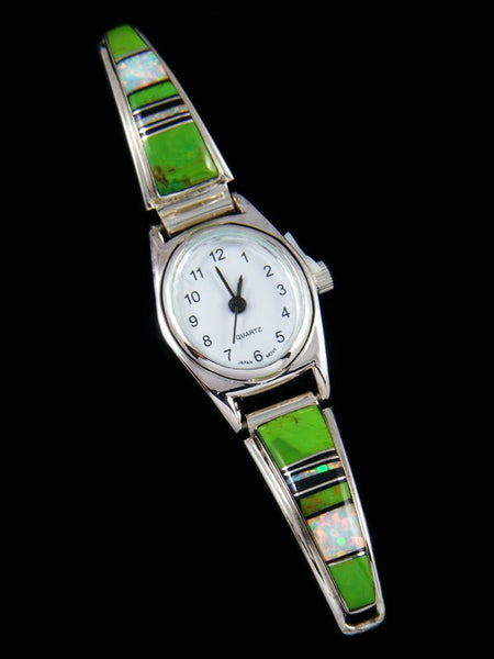 Native American Gaspeite and Opal Inlay Ladies' Watch
