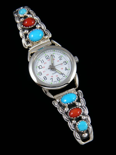Native American Turquoise and Coral Ladies' Watch