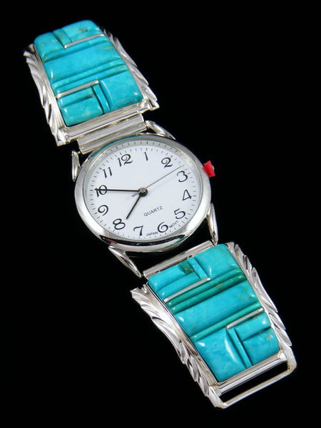 Native American Indian Jewelry Turquoise Inlay Men's Watch