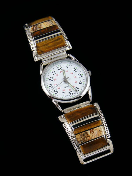 Native American Indian Jewelry Tiger Eye and Jasper Inlay Men's Watch