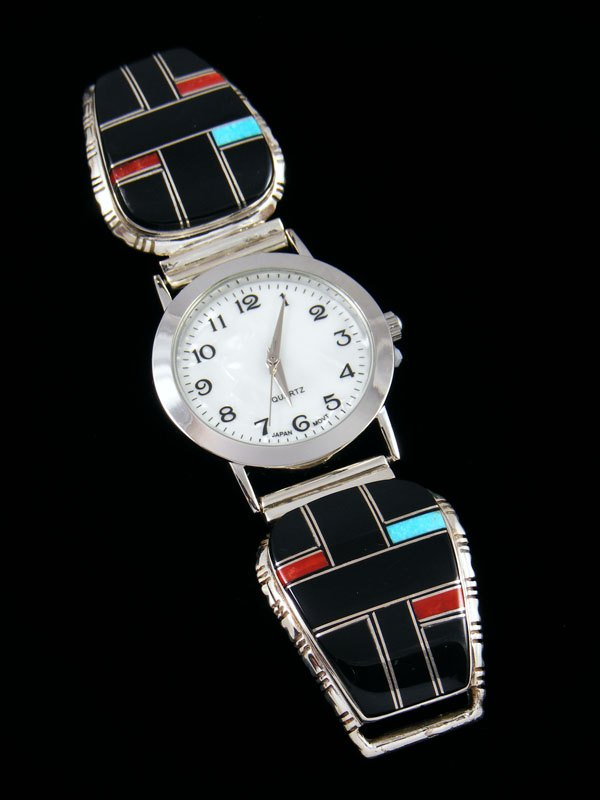Native American Indian Jewelry Turquoise and Onyx Men's Inlay Watch