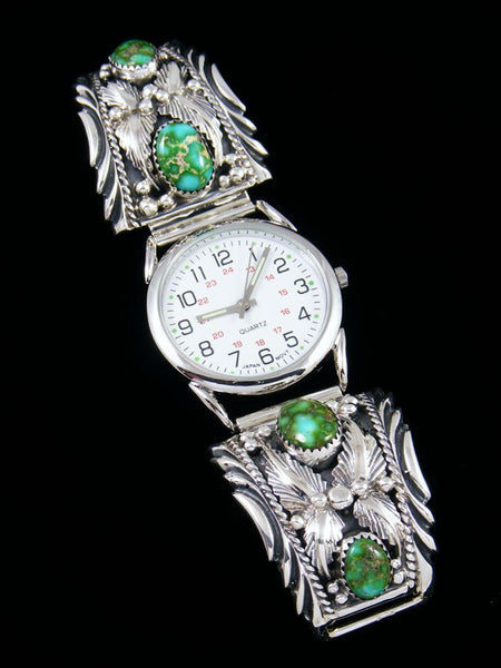 Native American Indian Jewelry Sterling Silver Sonoran Gold Turquoise Men's Watch