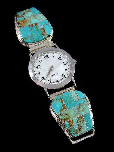 Native American Indian Jewelry Turquoise Men's Inlay Watch