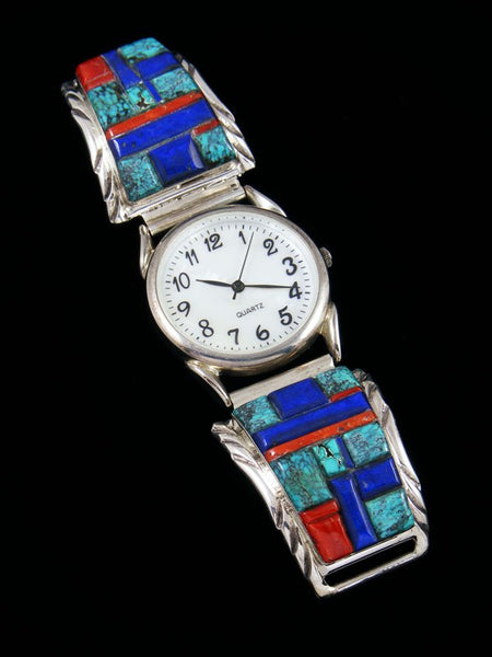 Native American Indian Jewelry Lapis and Turquoise Inlay Men's Watch