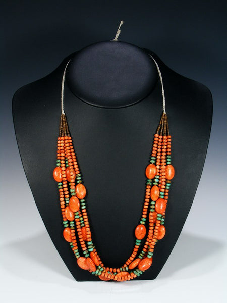 Native American Santo Domingo Apple Coral and Turquoise Necklace