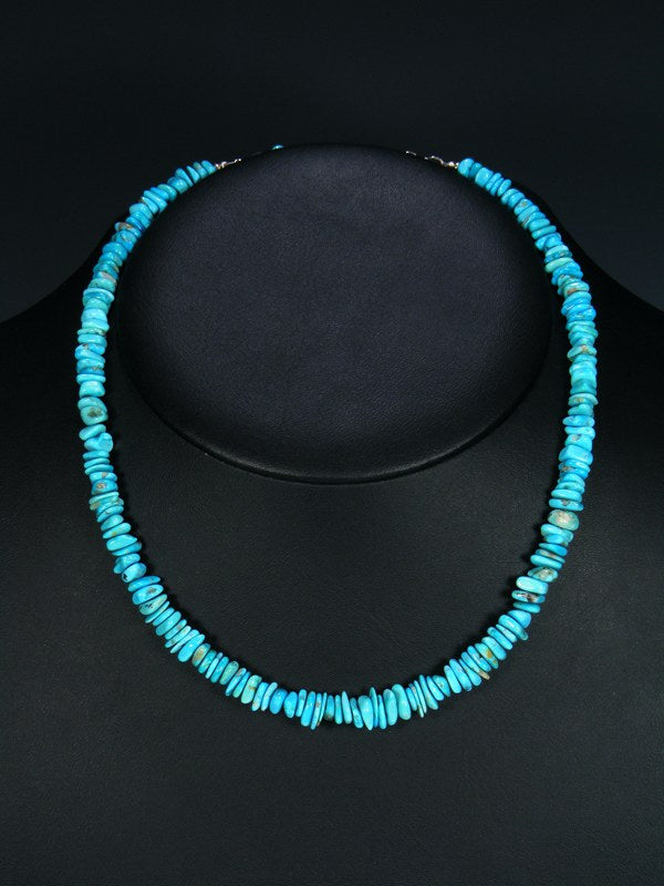 Native American Indian Jewelry Single Strand Blue Turquoise Necklace