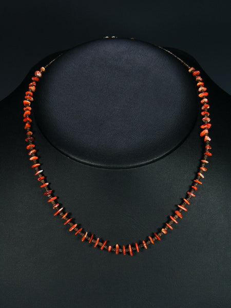 Native American Red Spiny Oyster Heishi Choker Necklace