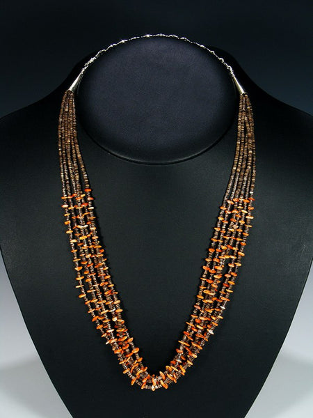 Native American Orange Spiny Oyster Six Strand Necklace