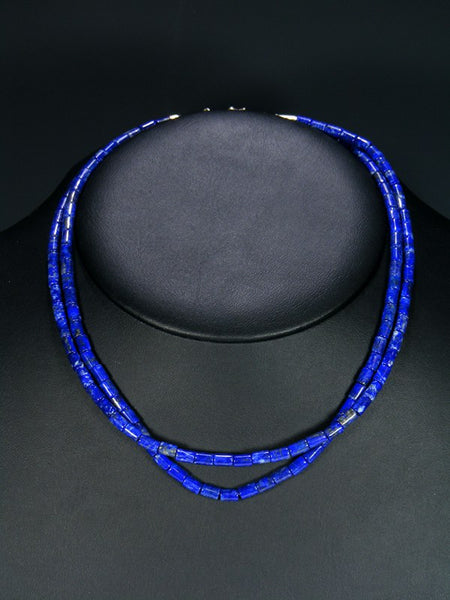 Native American Lapis Double Strand Choker Necklace
