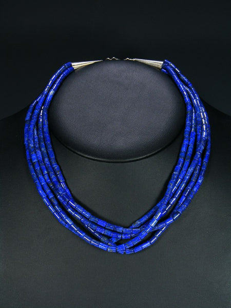 Native American Lapis Five Strand Choker Necklace