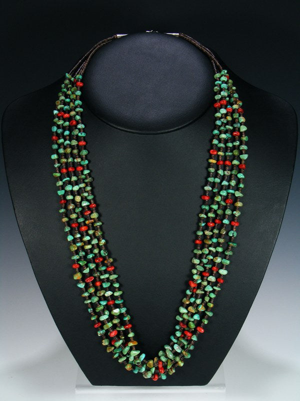 Native American Turquoise Coral Heishi Five Strand Necklace
