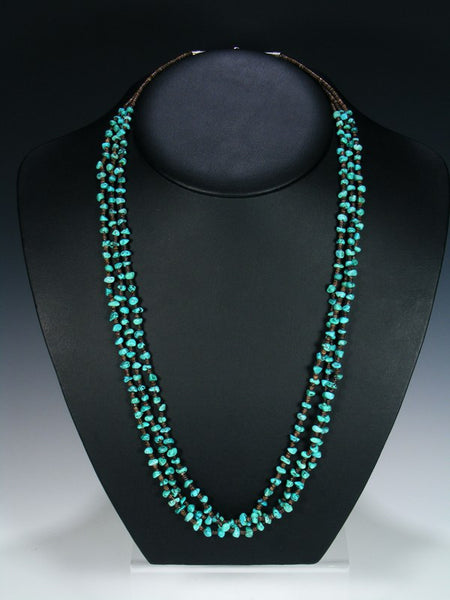 Native American Turquoise Heishi Triple Strand Necklace