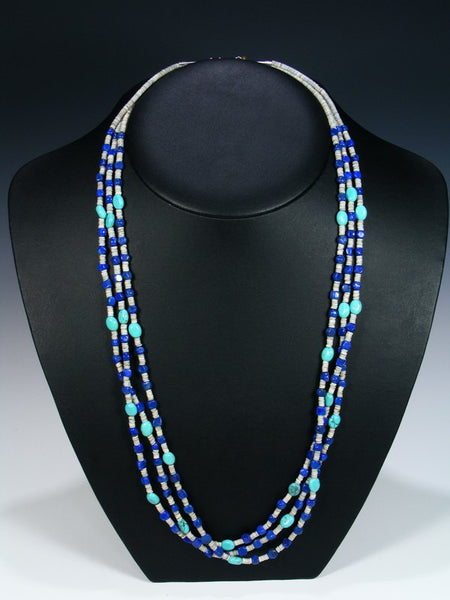 Native American Lapis Heishi and Turquoise 3 Strand Necklace