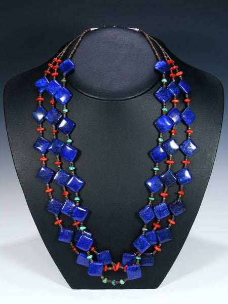 Native American Lapis Coral and Turquoise 3 Strand Necklace
