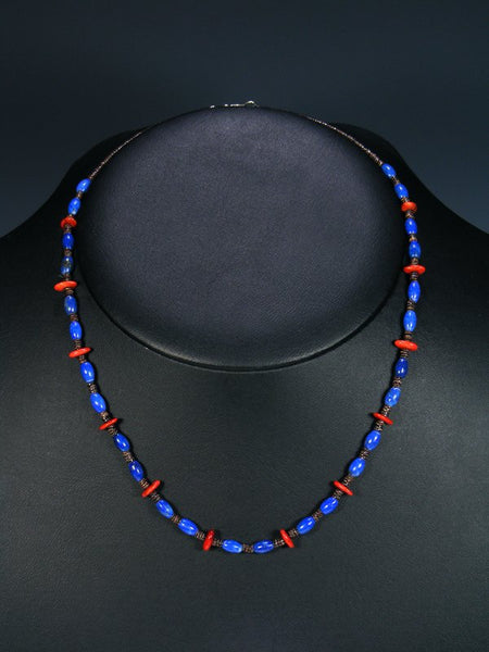 Native American Lapis and Coral Single Strand Necklace