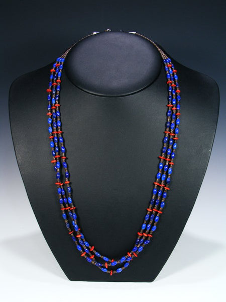 Native American Lapis and Coral 3 Strand Necklace